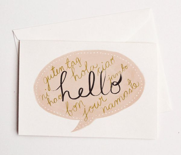 Quill and fox hand illustrated cursive speech bubble hello notecard on etsy